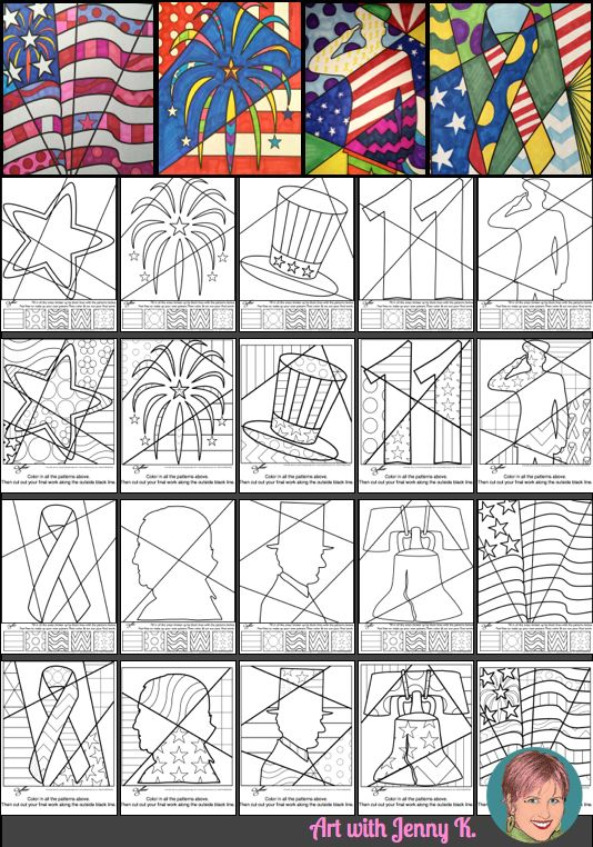 Interactive and pattern filled coloring sheets for Patriotic events like Independence Day, 9-11, Veterans Day, Presidents Day and Memorial Day. Great art project for kids and with both designs included there is something for everyone--even adults who love to color with their kids!