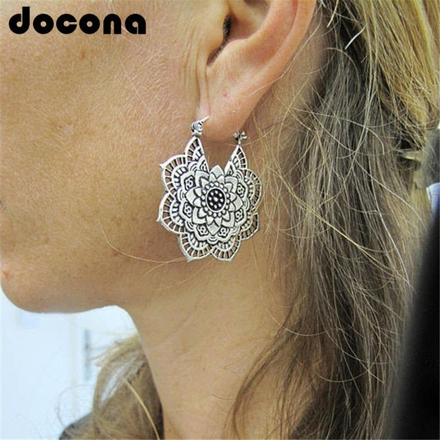 Boho Classic Jewelry Elegant Silver Long Hook Drop Dangle Tassels Earrings