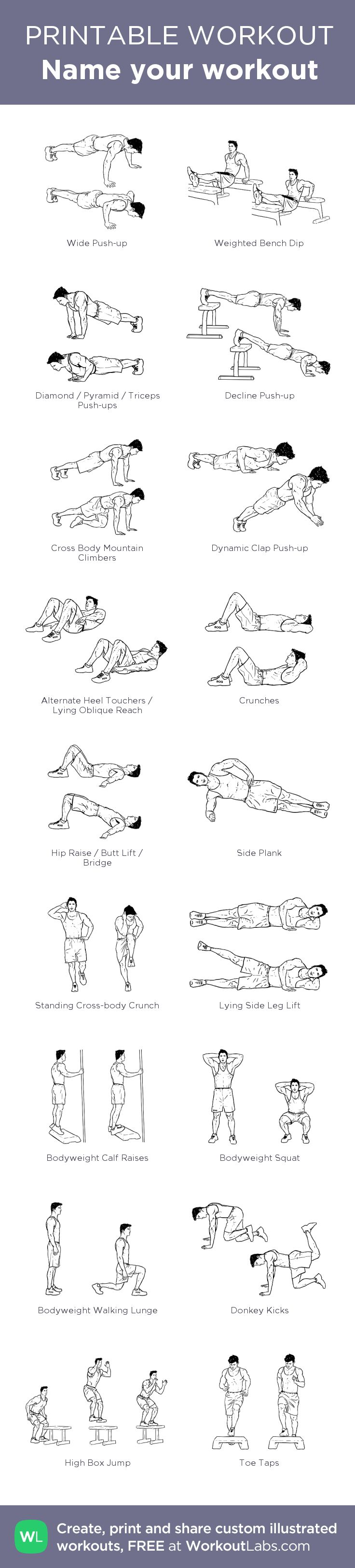 Name your workout: my visual workout created at WorkoutLabs.com • Click through to customize and download as a FREE PDF! #customworkout