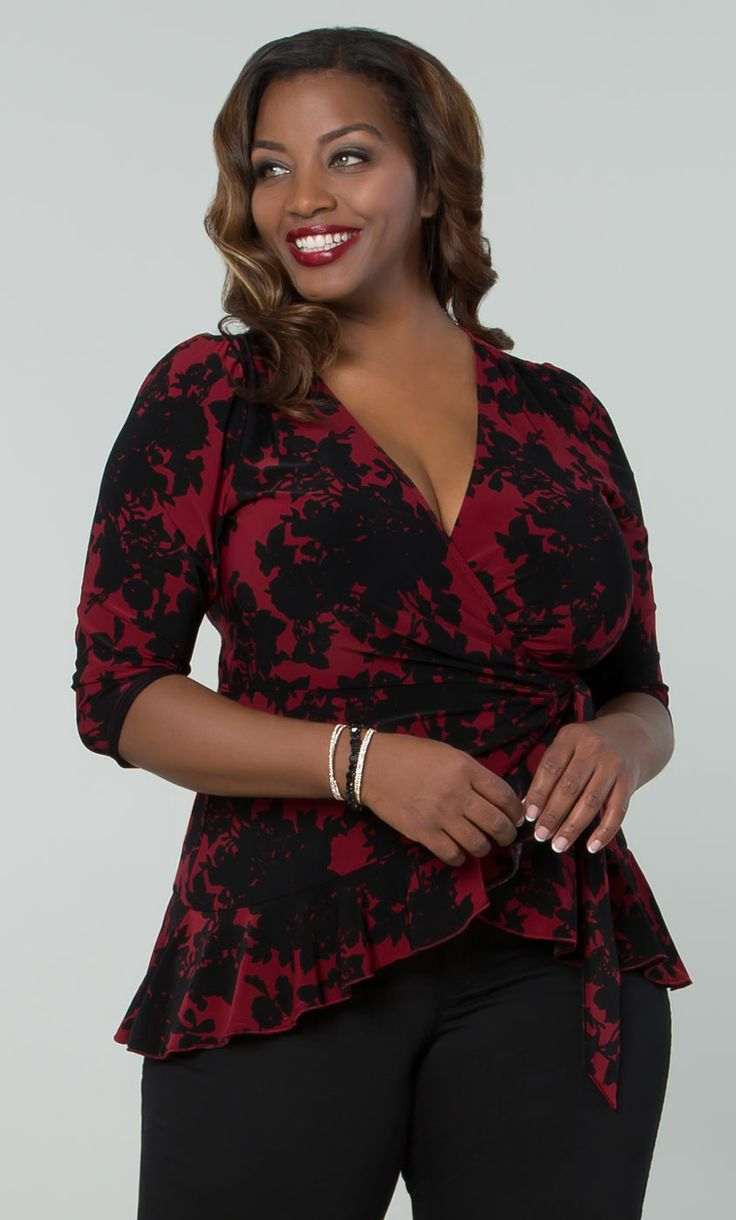 Check out the deal on Pretty in Print Wrap Top at Kiyonna Clothing