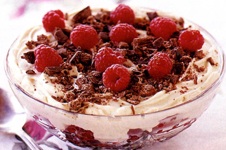 You will need a big spoon to dive into this chocolate, biscuit and fruit trifle.