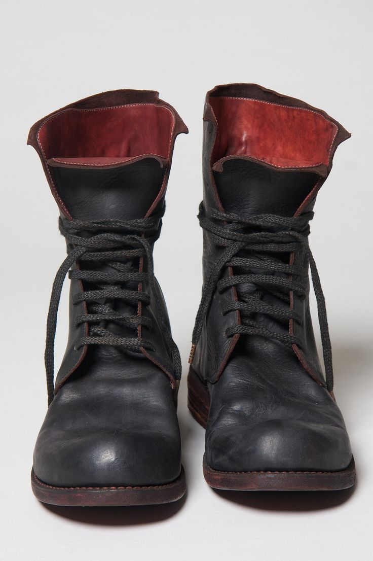 A1923 - BLACK CALF TALL LACE UP BOOTS