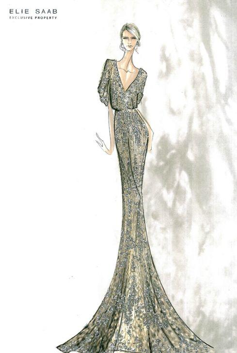 Fashion Design Sketches Drawing Elie Saab