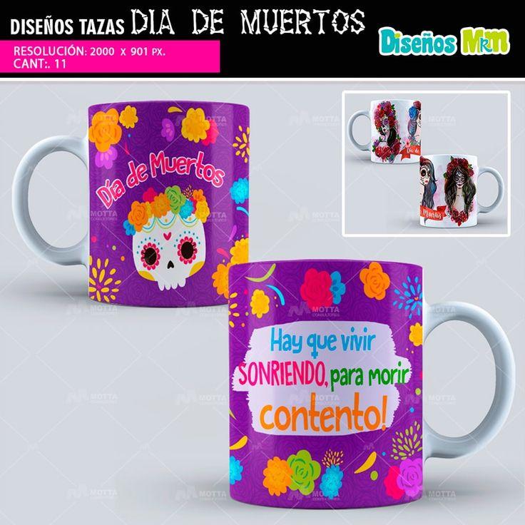 11 sublimation templates PSD Día de Muertos, Day of the Dead, plantillas de sublimación, Santa Muerte, mug templates sublimation #mottaplantillas