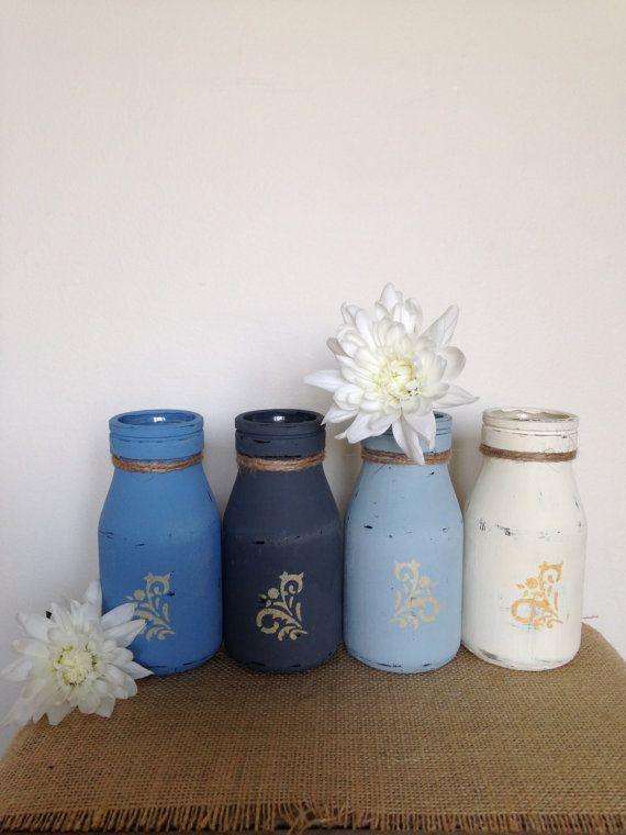 Set of 4 Rustic Bottles 'Seaside Living', Painted & Distressed Glass Milk Bottles, Wedding Decor, Glass Vase, Wedding Table, Home Decor