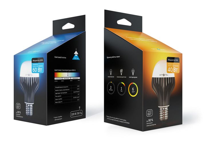 Packaging for the Optogan LED lightbulbs