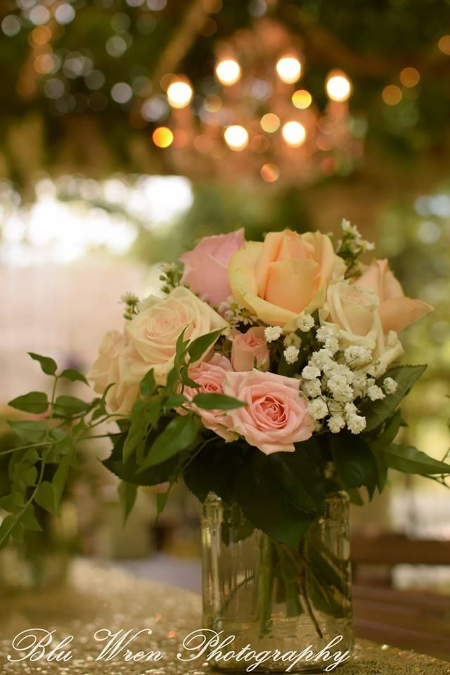 Fresh flowers in a glass jar. Simplicity at its best. Photography Blu Wren Photography.