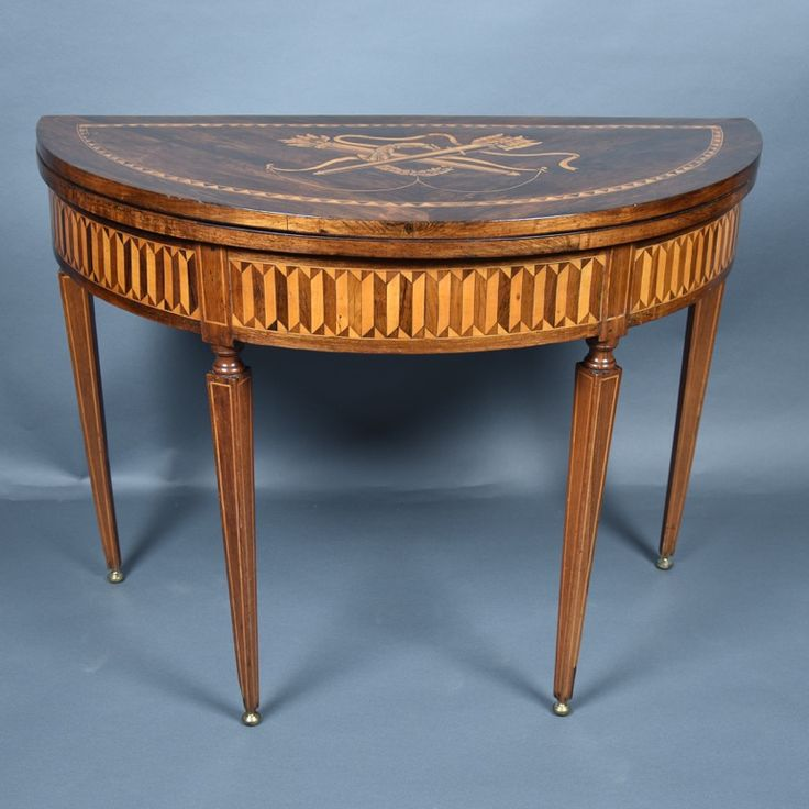 Marquetry Card Table Attributed To Maggiolini, Marquetry Depicting Foliage,  Flowers