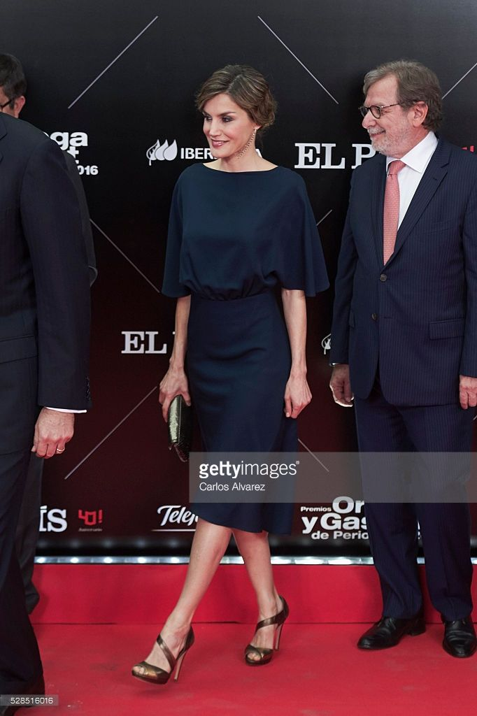 President of PRISA group Juan Luis Cebrian (R) and Queen Letizia of Spain (L) attend 'Ortega Y Gasset' journalism awards 2016 at Palacio de Cibeles on May 05, 2016 in Madrid, Spain. (Photo by Carlos Alvarez/Getty Images)