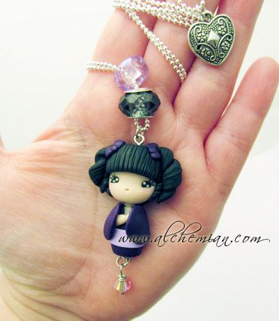 *POLYMER CLAY ~ Kokeshi Japan doll ooak necklace made in italy.