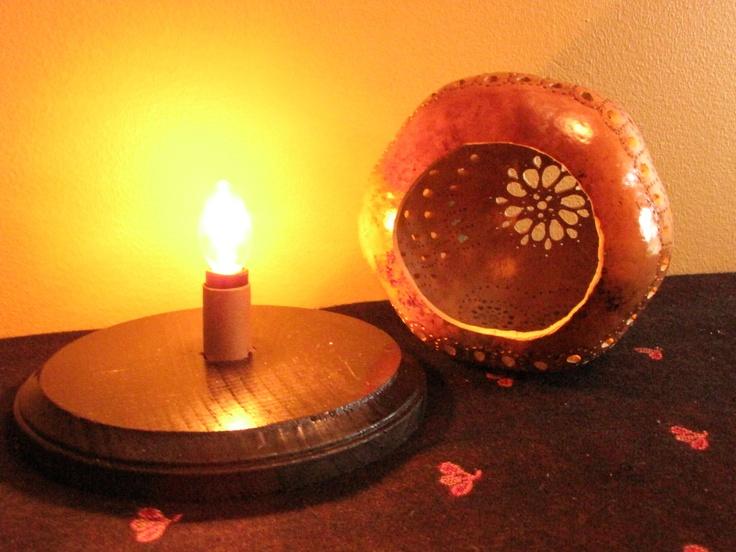 Owl Gourd lamp. $55.00, via Etsy.