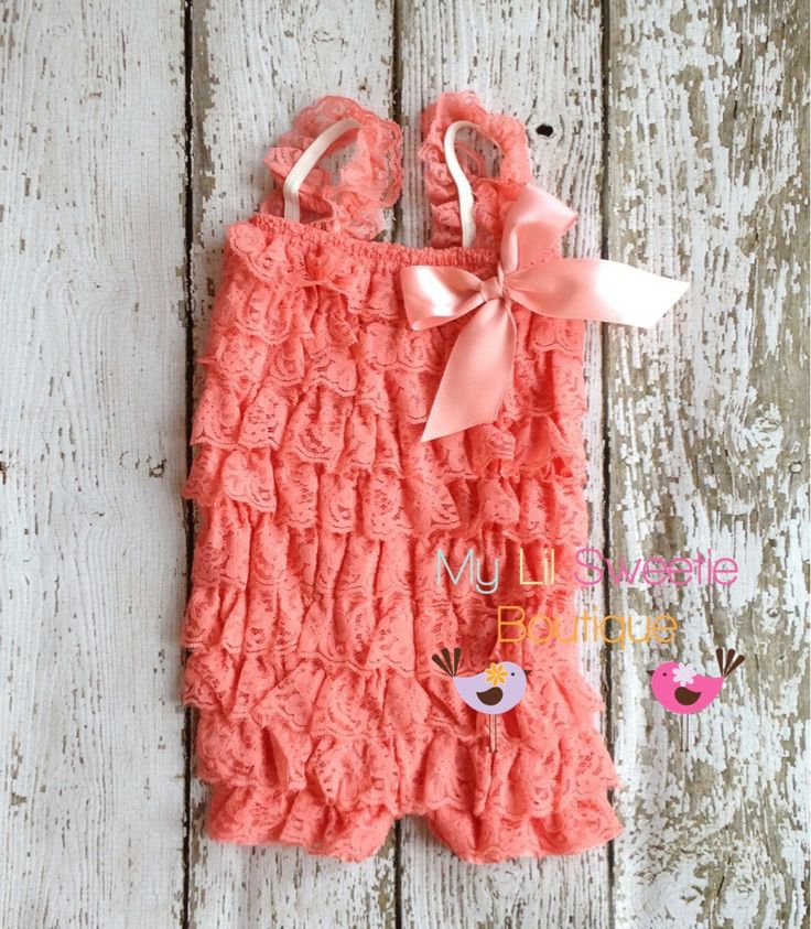 New Coral Vintage Lace Petti Romper - Infant outfit- Toddler outfit- birthday outfit - Newborn outfit- photo prop. $19.95, via Etsy.