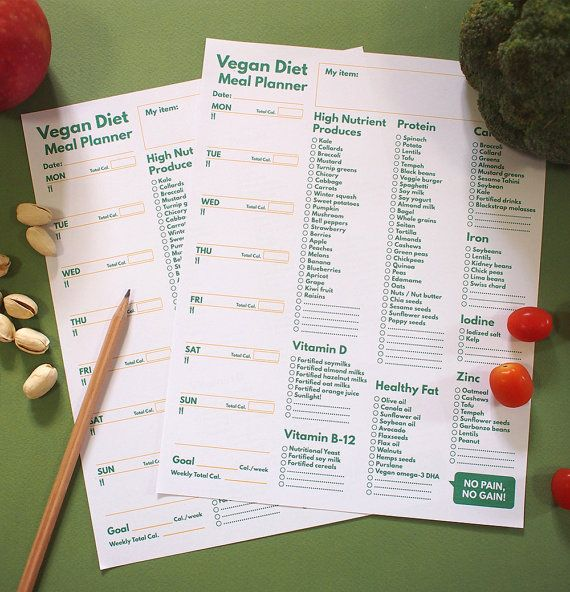 A5 Filofax Meal Planner printable Vegan Diet & par GetWellPlan