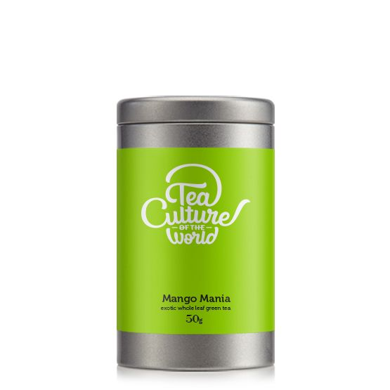 The Mango Mania Tea Tin, available in packs of 50gms, 100gms and loose leaves. Click to buy.