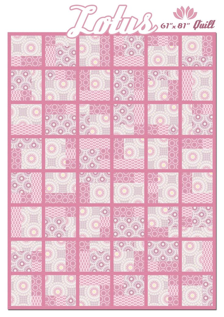 "Lotus Collection 61 x 81"" Quilt Pattern.  Pdf available for free download at http://www.gingerlilystudio.com/wp-content/uploads/2016/04/Lotus-Quilt-Pattern-by-Ginger-Lily-Studio.pdf"