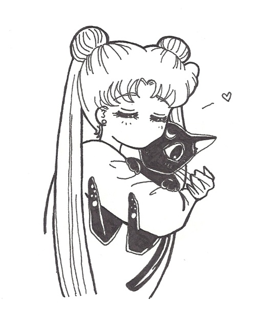 Usagi and Luna.This reminds me of the frames in the StarS arc of the manga where Usagi asks Ikuku-Mama if they can have two new pets and tells her to take care of them, right before Usagi loses everything.  Such a powerful story, people just do not even know...