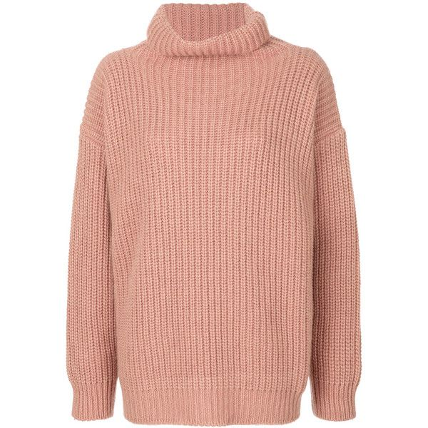 Barena chunky knit jumper (€460) ❤ liked on Polyvore featuring tops, sweaters, pink top, barena, red sweater, chunky-knit sweaters and red top