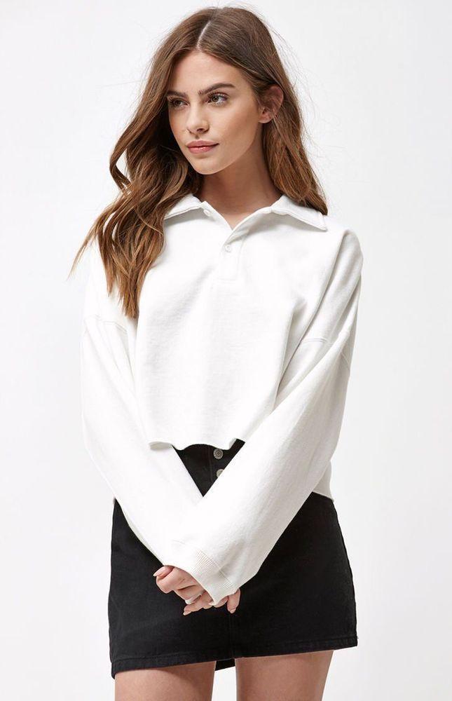 9a78dbf980fd6 New Womens John Galt White Button Up Long Sleeve Polo Crop Top One Size  Fits All  JohnGalt  CropTop  Summer