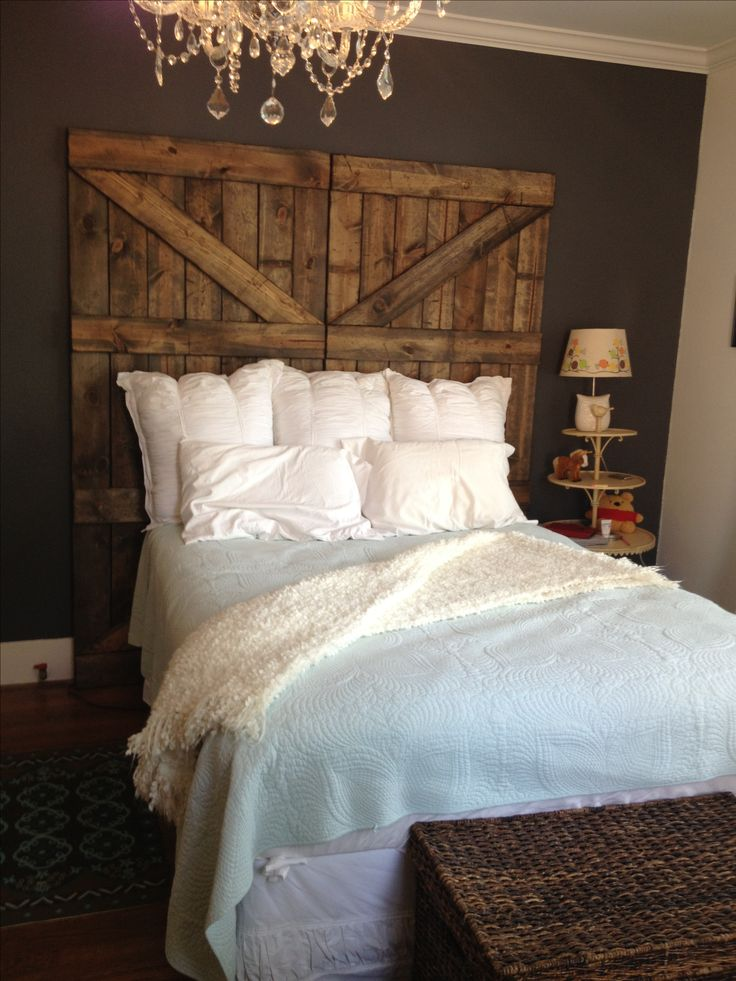 Barn door headboard. Inspired by Pinterest, built by boyfriend. Rentovations.weebly.com
