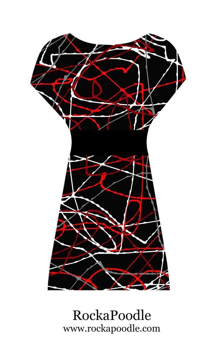 Bespoke verf Splatter abstracte Punk Rock rood grijs zwart jaren tachtig jaren 1980 geïnspireerde tuniek jurk - aangepaste afgedrukt stof! door RockaPoodleShop op Etsy https://www.etsy.com/nl/listing/226192172/bespoke-verf-splatter-abstracte-punk