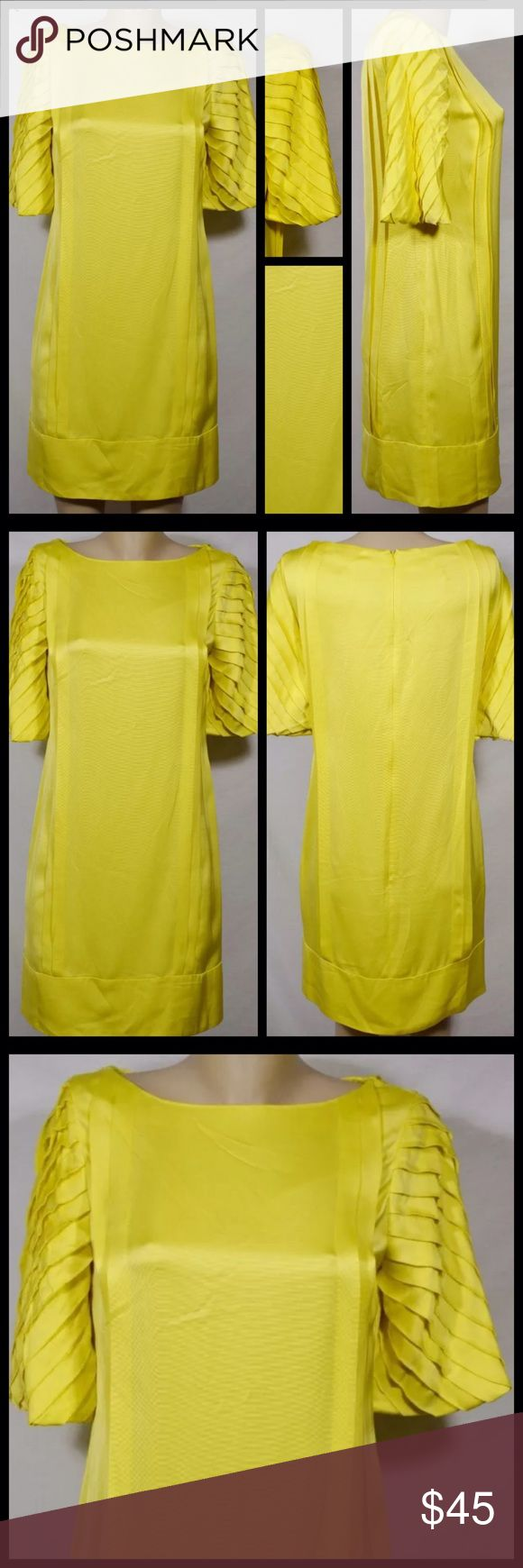 Yellow Reiss dress with pleated sleeves, size 6 Adorable yellow Reis cocktail dress with shutter pleated sleeves. Size 6 (UK suze 10). Reiss Dresses Midi