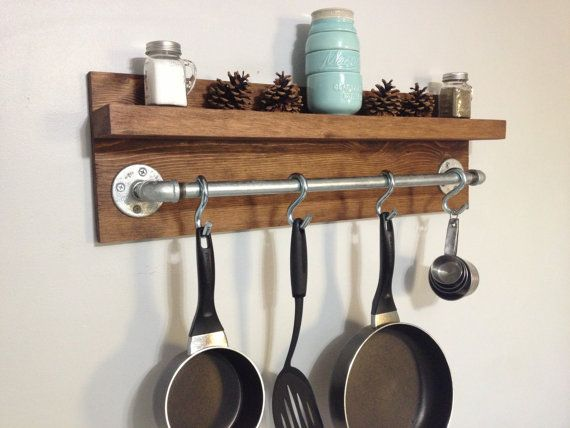 Rustic Industrial Kitchen Pot Rack, Gifts for Him, Wall Shelf, Wooden Shelf, Industrial Shelf, Rustic Rack, Wooden Rack, Rustic Home Decor
