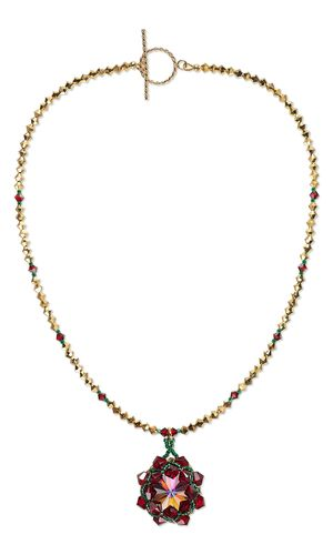 Single-Strand Necklace with Swarovski Crystal Beads and Rivolis and Seed Beads - Fire Mountain Gems and Beads