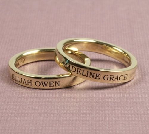 rings with names engraved on them | ... engraved with your names with the choice of five lettering styles