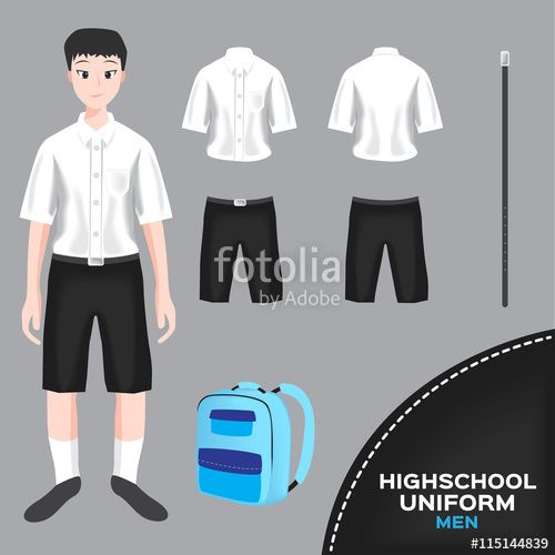 """Download the royalty-free vector """"asian man university and high school uniform set , Thai uniform version 4"""" designed by gritsalak at the lowest price on Fotolia.com. Browse our cheap image bank online to find the perfect stock vector for your marketing projects!"""