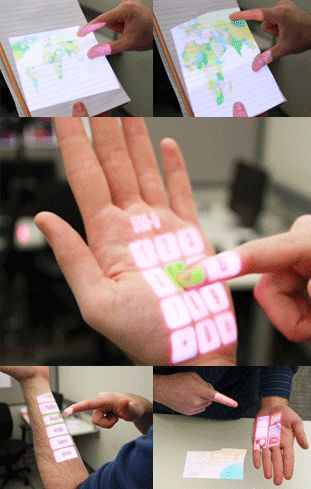 Make Every Surface a Touch Screen : Wearable Multitouch Interaction gives users the ability to make an entire wall a touch surface, while PocketTouch enables users to interact with smartphones inside a pocket or purse, a small surface area for touch.