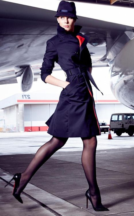 Business Chic Blue Trench Coat Hat Black Pantyhose