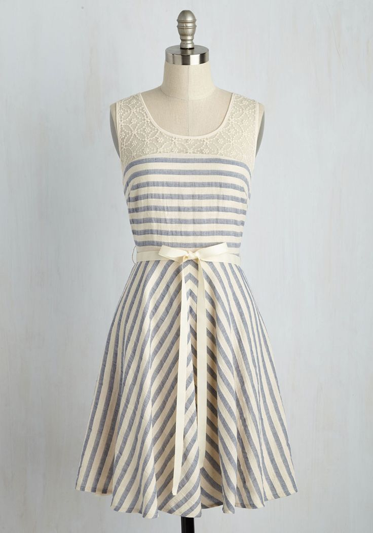 Around Ann Arbor Dress. Quaintness and charm characterize this striped dress - and your favorite citys streets! #blue #modcloth