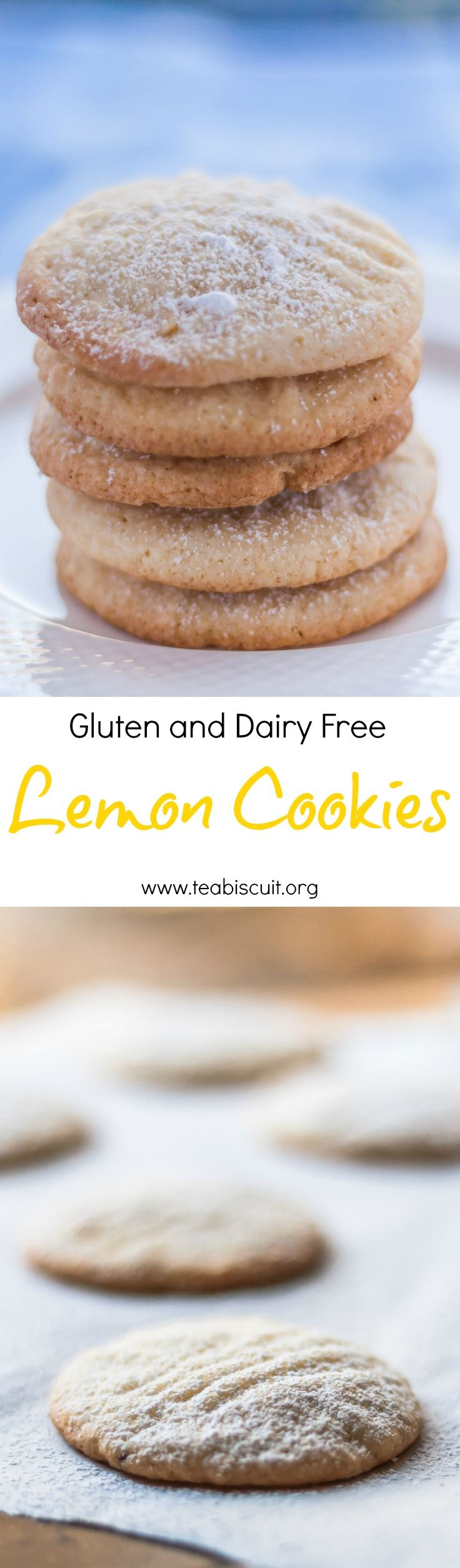 Delicious, easy gluten and dairy free lemon cookies from www.teabiscuit.org