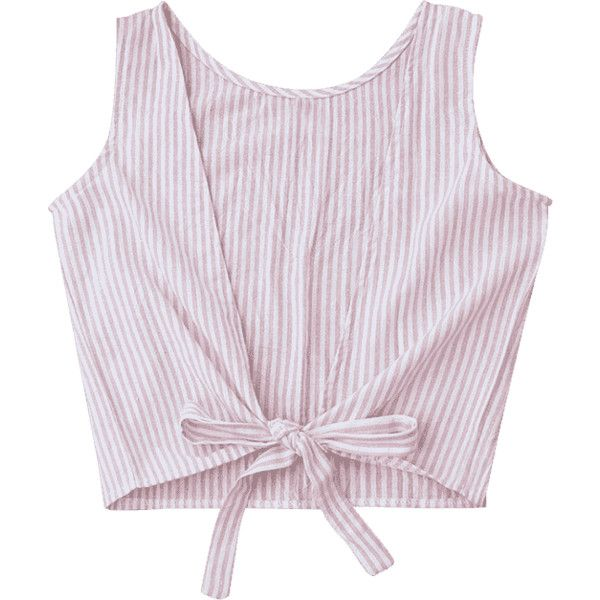 Plunging Neck Striped Tank Top (190.215 IDR) ❤ liked on Polyvore featuring tops, striped tank, pink tank, stripe tank, plunge-neck tops and pink tank top