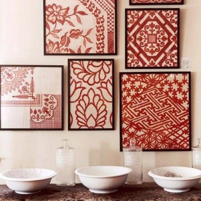 Framed fabric art DIY: Wall Art, Wall Decor, Blank Wall, Old Quilts, Vintage Fabrics, Frames Fabrics, Antiques Quilts, Scrapbook Paper, Fabrics Art