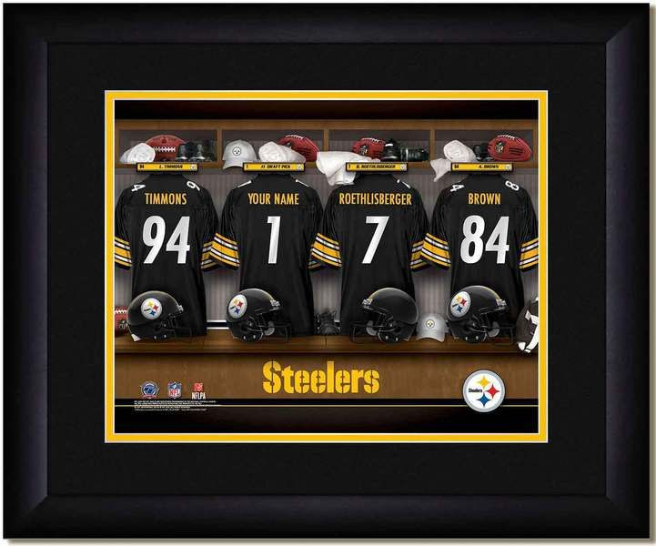 your name on a pittsburgh steelers jersey in the locker room of your pittsburgh steelers football team framed poster pinterest football team