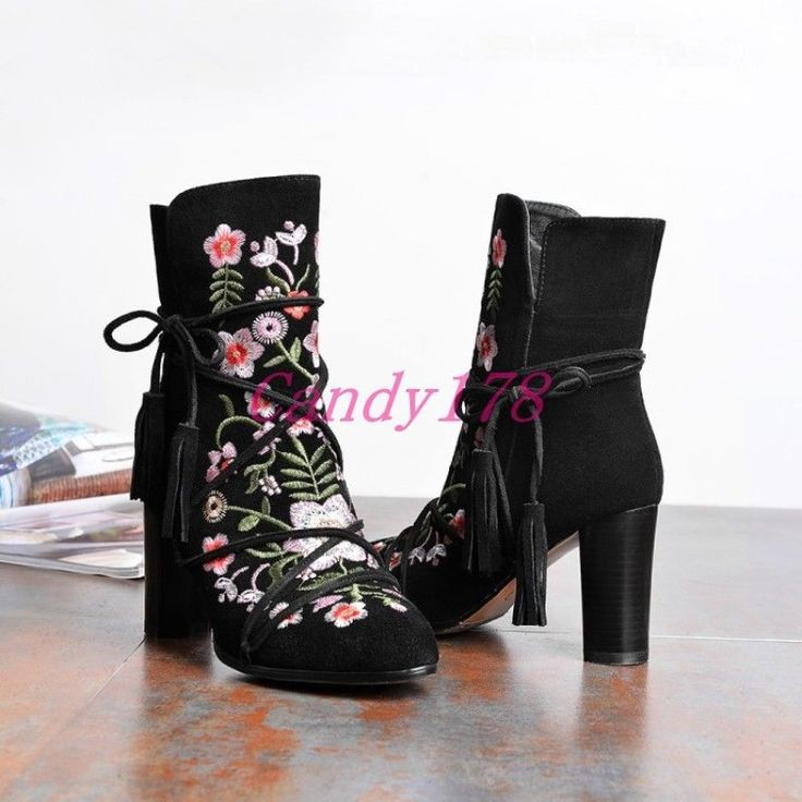 Ethnic National Womens Strappy Embroidery High Heels Side Zip Ankle Boots Suede