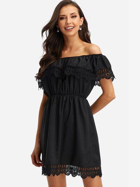 Black Lace Details Off The Shoulder Mini Dress - US 17.95 -YOINS 09b105b93