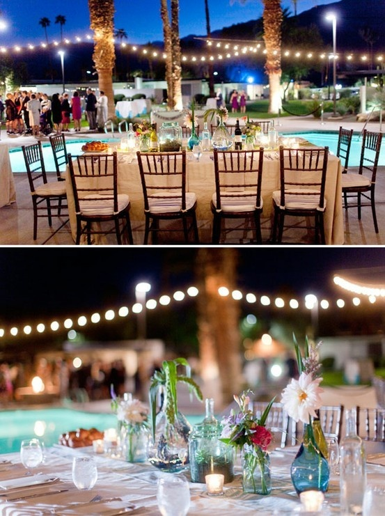 Lights at a poolside reception My Wedding Day Ideas