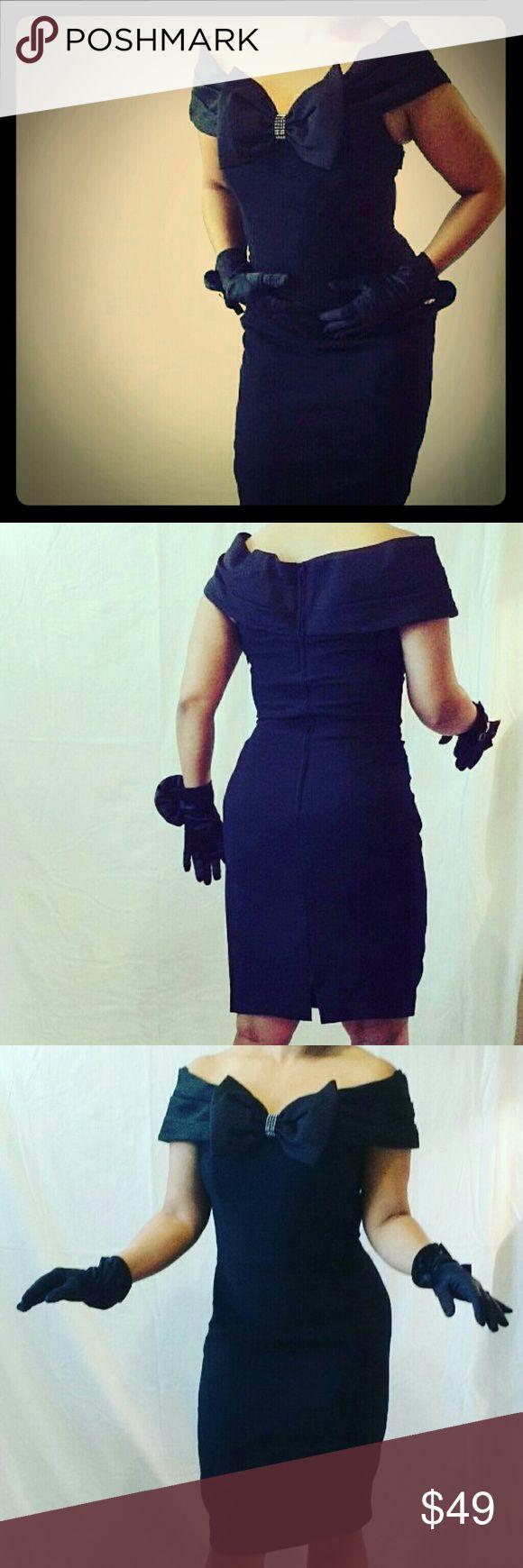 Vintage Black Maggie London Dress Knee Length Black Vintage Dress A.J. Bari  Dresses Strapless