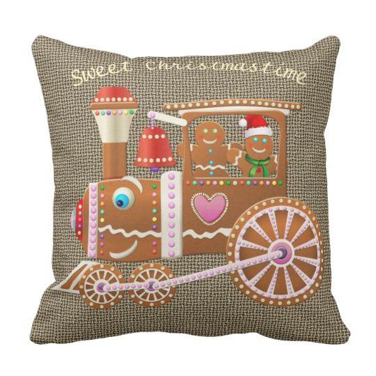 Gingerbread Christmas Train Cartoon Throw Pillow
