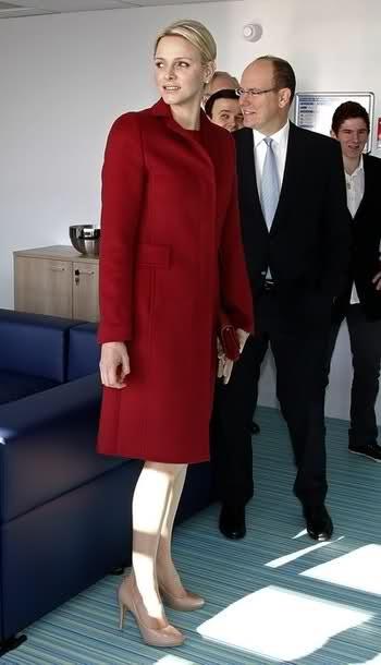 Princess Charlene stunning in red.