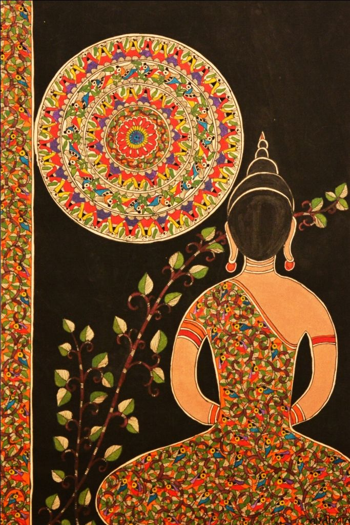 "Bharati Dayal | Peace | Acrylic and natural colours on handmade paper | 13.5"" x 21"""