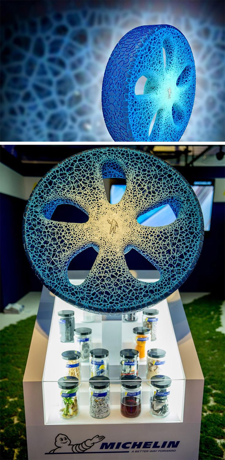 """Michelin is currently exploring the opportunity with the incredible 3D printed airless tire system they're calling the """"Visionary Concept."""" MICHELIN Visionary Concept is connected… meaning it communicates with your vehicle and your vehicle communicates with it. Without getting out of your car or even leaving your home, you can be informed of the wear on your tread and program a tread reprint."""
