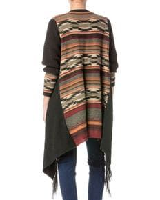 Miss Me Womens Aztec Open Drape Fringe Cardigan, Charcoal