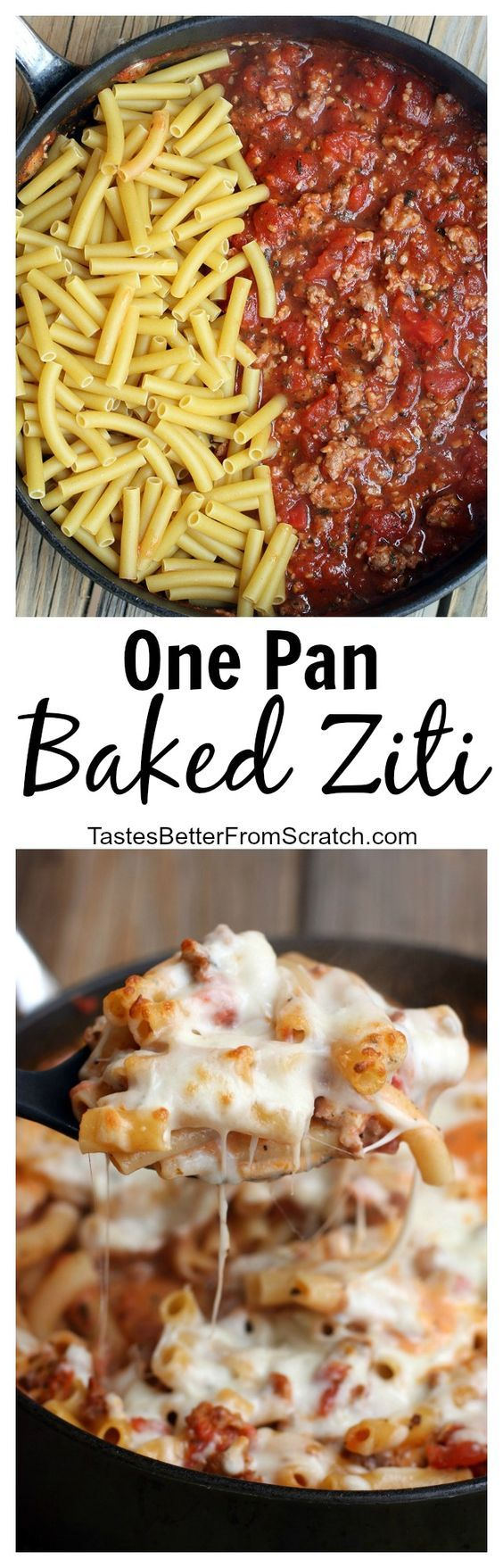 My family LOVES this easy, simple One Pan Baked Ziti recipe. It's fast and delicious--ready in less than 30 minutes!