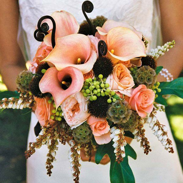 bouquet calle arancioni e rosa pesca