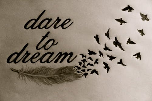 Dare to dream feather an bird tattoo idea