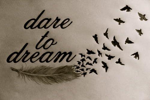 Dare to dream feather an bird tattoo idea