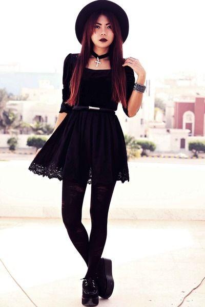 "Black Creepers Choiescom Shoes, Black Sheinsidecom Dresses   ""GENESIS // GRIMES"" by borntobotheryou - Chictopia"